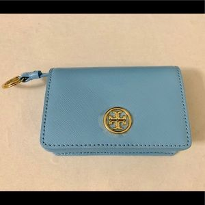 Tory Burch Leather Card Case Mini Wallet Keychain